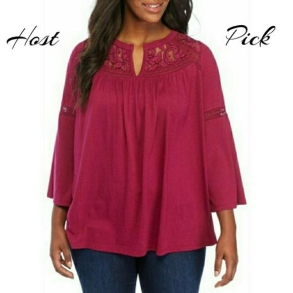 485917b5805 crown & ivy Tops   Crown Ivy Womens Blouse Pink Plus Size 1x 2x 3x ...